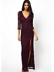 vestido de manga larga de color v cuello sólido de las mujeres qsh