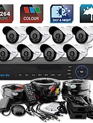 yanse® 8ch d1 dvr kit ir kleuren waterdichte camera beveiligingscamera's systeem cctv 712cc08