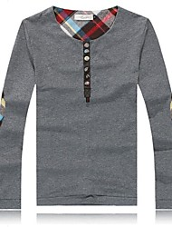 t-shirt da moda em torno do pescoço de algodão dos homens