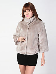 Fur Jacket  3/4 Sleeve Standing Faux Rabbit Fur Special Occasion/Casual Coat