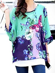 Frauen Shirt Scoop Neck Blume Schmetterling Chiffonbluse