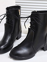 Winble Women's Fashion Causual Comfortable Tie Low Heel Temperament Leather Pointy Martin Boots