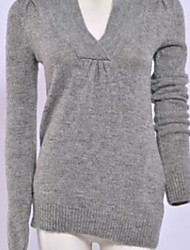 Concise Design Solid Color Long Sleeve Sweater Gray
