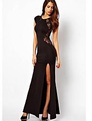 kvinnors elegant rund krage spets skära ut Furcal maxi plus size dress