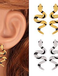 TopGold New Cute Snake Enamel Earrings Stud 18K Gold Platinum Plated Jewelry Gift for Women High Quality