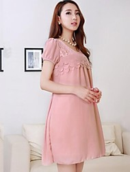 Maternity Lace Decoration Short Chiffon Dress