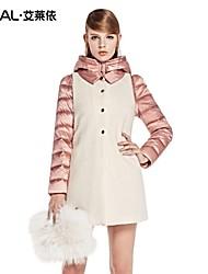 ERAL®Women's Winter Coat  Slim Hooded Long Down Coat with Shirt-Collar Wool Vest