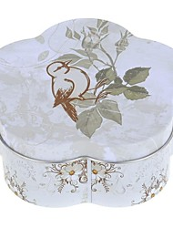 Lovely Flower Shape Little Bird Style  Canister Carrying Tin Box