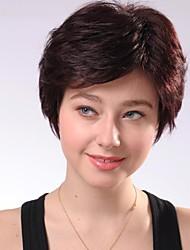 curta castanha sem tampa castanho encaracolado perucas de cabelo humano