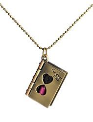 cadena fahion antiguo reloj de arena de bronce collar retro libro colgante