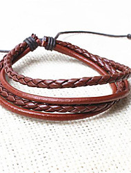 z&X® pulseiras de couro do vintage multicamadas tibetano dos homens (1pc, 3 opções de cores: preto, café, preto e branco)