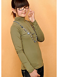 высокий воротник с длинным рукавом зимние футболки армия зеленый
