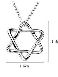унисекс Серебряный кулон гексаграмма
