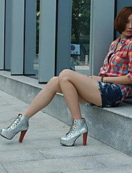 Paillette Strapped Thicken Heel Ankle Boots Silver