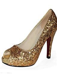 Women's Shoes Glitter Spring / Summer / Fall Heels / Peep Toe / Platform Office & Career / Dress / Party & Evening Stiletto HeelBeading /