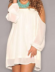 Women's Holiday Loose Dress,Solid Off Shoulder Above Knee Long Sleeve Polyester / Spandex All Seasons