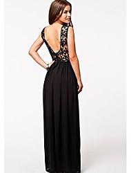 Women's Sexy V Neck Backless Slim Long Dress