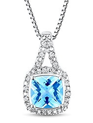 Women's Classic Sterling Silver with Topaz and Diamond Necklace