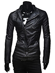 Lesen Men's Stand Collar Fashion Dual Zippers Casual Placket Slim Leather Bike Jacket O