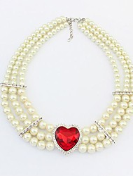 European Style Luxury Gemstone Three Pearl Necklace