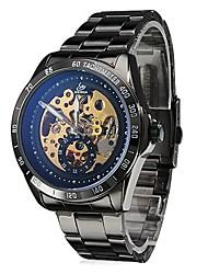 reloj de acero negro automático de la muñeca mecánica esqueleto estilo de los hombres