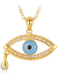 Cute Angel Tear Evil Eyes Lucky Pendant Necklace 18K Gold Plated Austrian Rhinestone Crystal