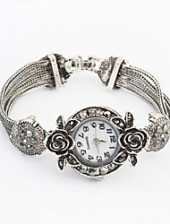 Women's Round Alloy Band Rose Bracelet Watch
