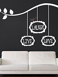 JiuBai® Laugh Live Love Quote And Tree Branch Wall Sticker Wall Decal