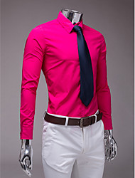 camisa de manga larga slim fit fucsia