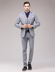 Gray Polyester Slim Fit Three-Piece Suit