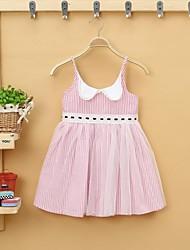 Été 100% coton sans manches mini-robes des filles minces