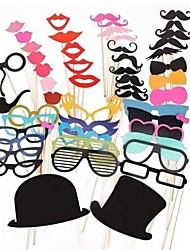 51 PCS Card Paper Photo Booth Props Party Fun Favor(Glasses & Hat & Mustache & Hat)