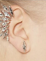 Women's Full Crystals Rhinestone Ear Clip and Stud Earrings