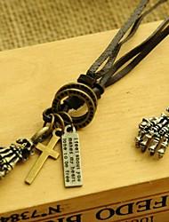 European Cross Devil's Talons Leather Pandant Necklace(1pc)