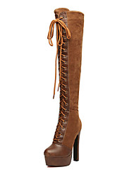 JOJO Women's Vintage Lace-Ups Platform Over The Knee Boots