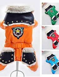 Dog Coat Clothes/Jumpsuit Red Orange Green Blue Dog Clothes Winter Spring/Fall Police/Military Fashion Keep Warm