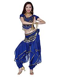 chiffon roupas belíssimas de dança do ventre dancewear das mulheres, incluindo superior, inferior, correia (mais cores)