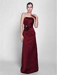 Floor-length Satin Bridesmaid Dress - Sheath / Column Strapless Petite with Beading / Flower(s) / Sash / Ribbon