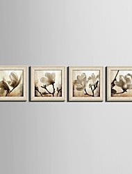 Floral/Botanical Fantasy Framed Canvas Framed Set Wall Art,PVC Material Beige No Mat With Frame For Home Decoration Frame Art