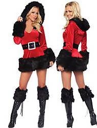 Nero Bordo di pelliccia con cappuccio rosso vestito delle donne di Natale del costume