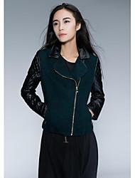 coutures cachemire tissu vert veste de cuir PU femmes veste
