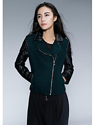 Leather Jacket Women's Stitching Green Cloth Cashmere PU Jacket