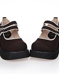marrón pu clásico plataforma 6.5cm cuero&zapatos tradicionales lolita