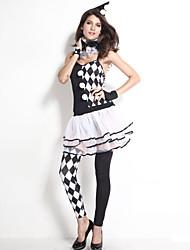 Women's 6Pcs Black White Harlequin Clown Costume