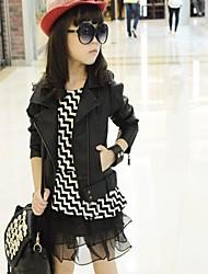 Girl's Fashion Personality Lapel Collar PU Leather Jacket