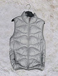 Men's Regular Down Coat , Cotton/Others/Polyester Pure Sleeveless