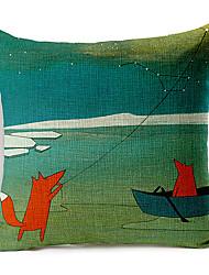 style campagnard cerf-volant motif de renard coton / lin taie d'oreiller décoratif