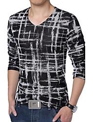Herren T-shirt-Druck Freizeit / Übergröße Baumwolle / Polyester / Gitter Lang-Blau / Lila / Rot / Weiß