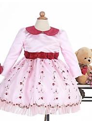 Ball Gown Knee-length Flower Girl Dress - Satin Long Sleeve