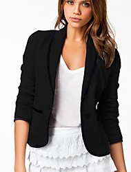Women's White/Black/Gray Coat , Casual Long Sleeve Cotton Blends